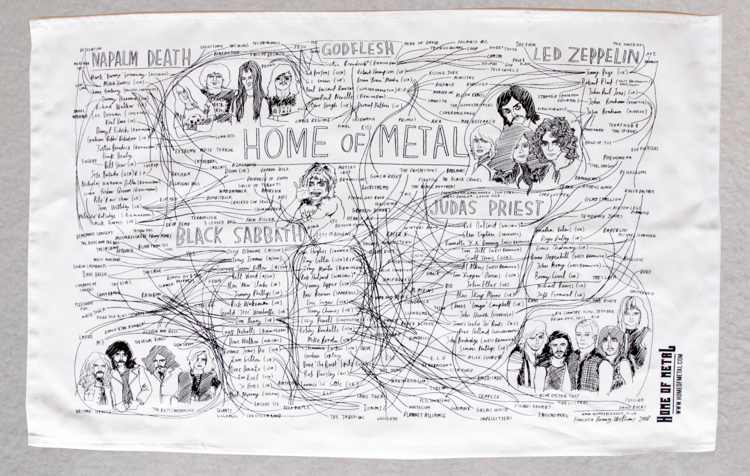 Home of Metal Family Tree tea towel